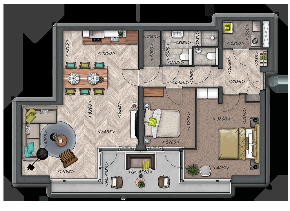 Het Zilt: Appartement type C: Begane grond